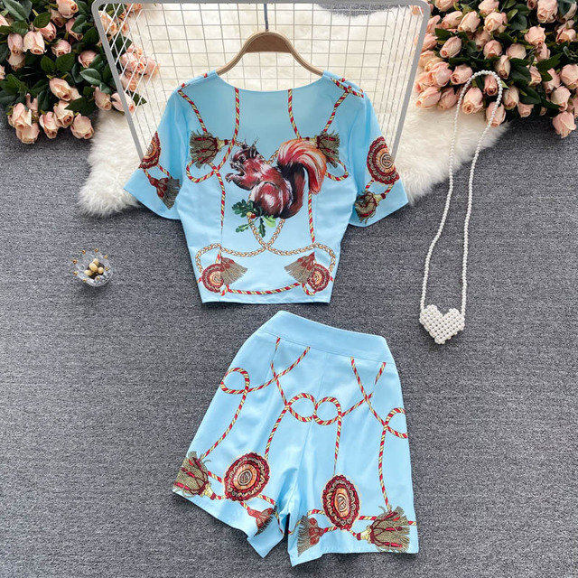 Women's Fashion Runway Two Piece Sets for Summer Elegant Lady Square Collar Print Top Suits with Shorts Casual Outfit Streetwear 6