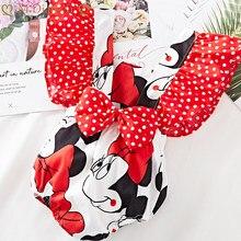Pelele de verano con estampado de Minnie para niñas, mono con lazo lunares en la espalda, ropa de manga voladora