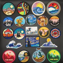 Embroidery Patches for Clothing Camp Iron On Patch Punk DIY Applique Clothes Stickers Van Gogh Star Night Mountain Wave Stripes