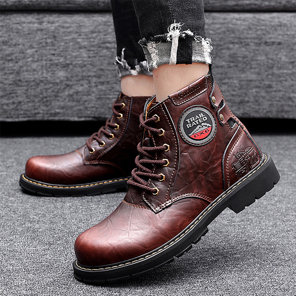 RELKA New Brand Warm Winter Cowboy Boots Men Cow Leather Boots Big Size 45 46 Men Shoes Chelsea Men Boots B25