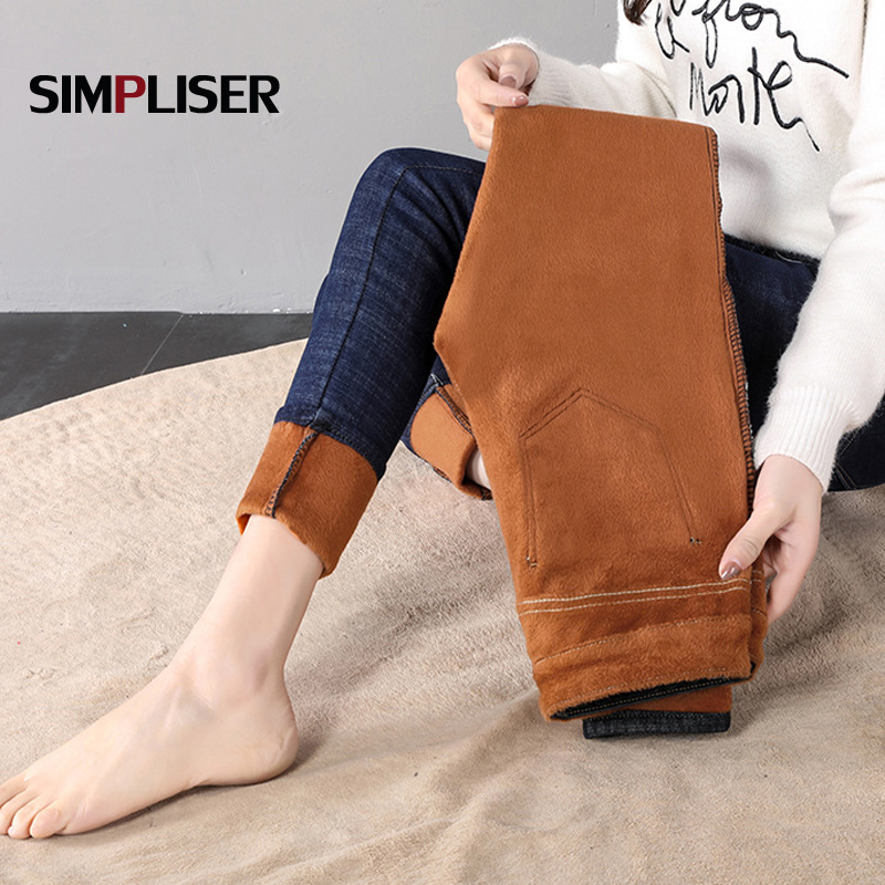 Winter Jeans For Women 2019 Thicken Velvet Pencil Pants Plus Size 32 Female Long Trousers Denim Blue Grey Leggings Mom Jeans