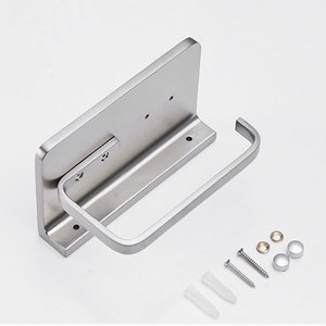 Image 5 - Bathroom Paper Tissue Holder with Phone Shelf Wall Mount, Toilet Paper Holder with Mobile Phone Storage Shelf Brushed Nickel