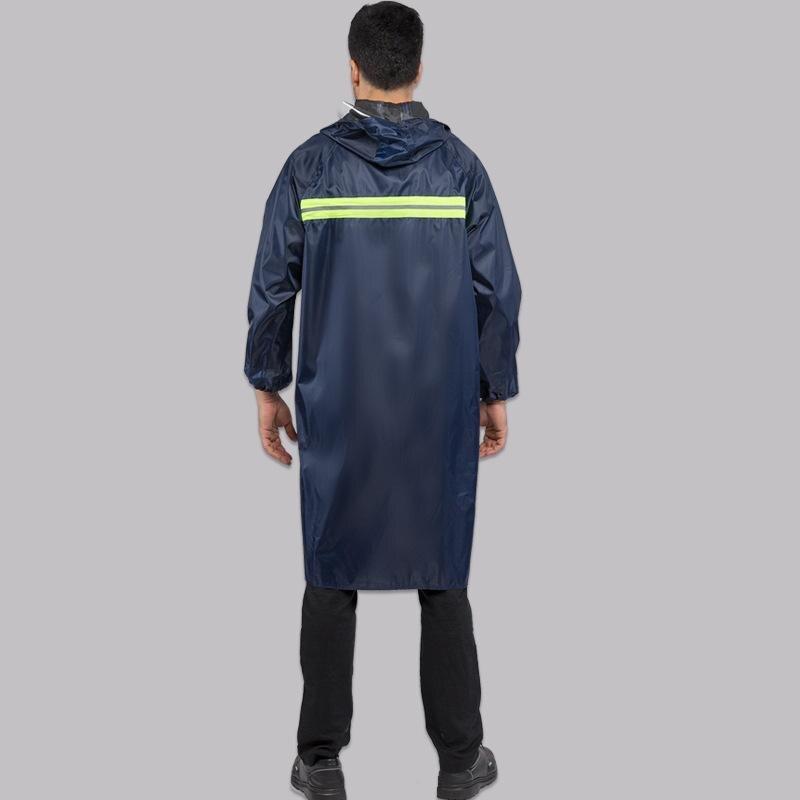 Free Size Navy Blue PVC Rubber Raincoat Outdoor Rain Coat Impermeable Capa de Chuva Waterproof Rain Cape Cover Hooded Rain Gear in Raincoats from Home Garden