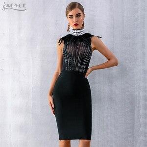 Image 3 - Adyce 2020 새로운 여성 Bodycon 붕대 드레스 민소매 검은 깃털 구슬 럭셔리 다이아몬드 연예인 이브닝 파티 클럽 드레스
