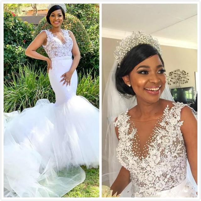 Plus Sizes, Sexy Lace Beaded Mermaid Wedding Dress