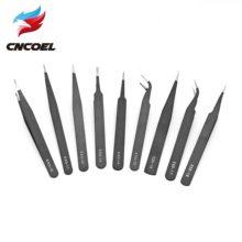 Pinças de aço inoxidável esd antiestática, 9 tipos, ferramentas de manutenção, ferramentas industriais de precisão, curvada, ferramentas retas de reparo
