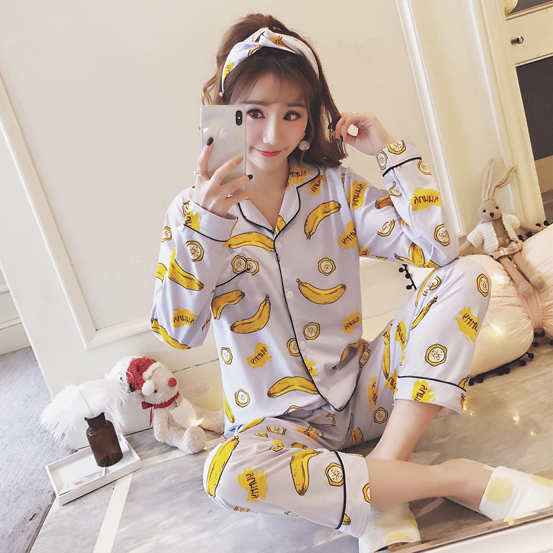 0232 # Banana Cardigan YX Long Sleeve Sweet Pajamas Homewear Set Series (Send Hair Band)
