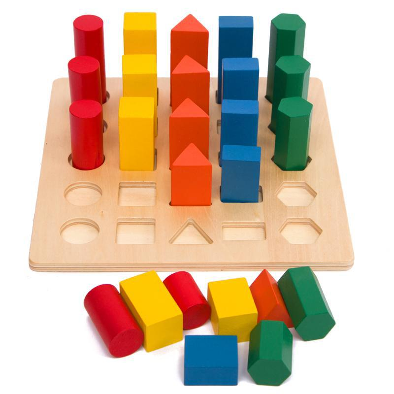 Montessori Children's Education Wooden Toy Geometric Ladder Toy Baby Development Practice And Sensory Toy Gifts