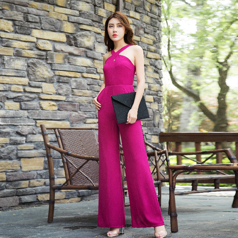 2020 Women Summer High Street Jumpsuit Party Chiffon Elegant Rose Red Full Length Wide Leg Rompers Plus Size 3XL 4XL