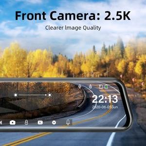 Image 2 - جانسايت 10 بوصة مرآة 2.5K + 1080P جهاز تسجيل فيديو رقمي للسيارات تيار وسائل الإعلام سوبر للرؤية الليلية شاشة تعمل باللمس سيارة كاميرا سيارة ثنائية العدسة وقوف السيارات وضع مسجل