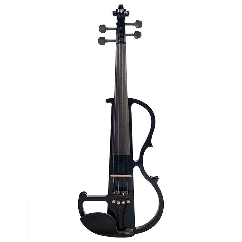 Violon électrique chaud 4/4 pleine taille violon avec étui arc écouteur colophane ensemble noir nouveau - 3