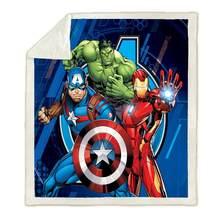 Марвел Халк, Человек-паук, Железный человек Капитан Америка Супермен забавным персонажем Одеяло 3D принт подстежка на искусственном меху, Од...