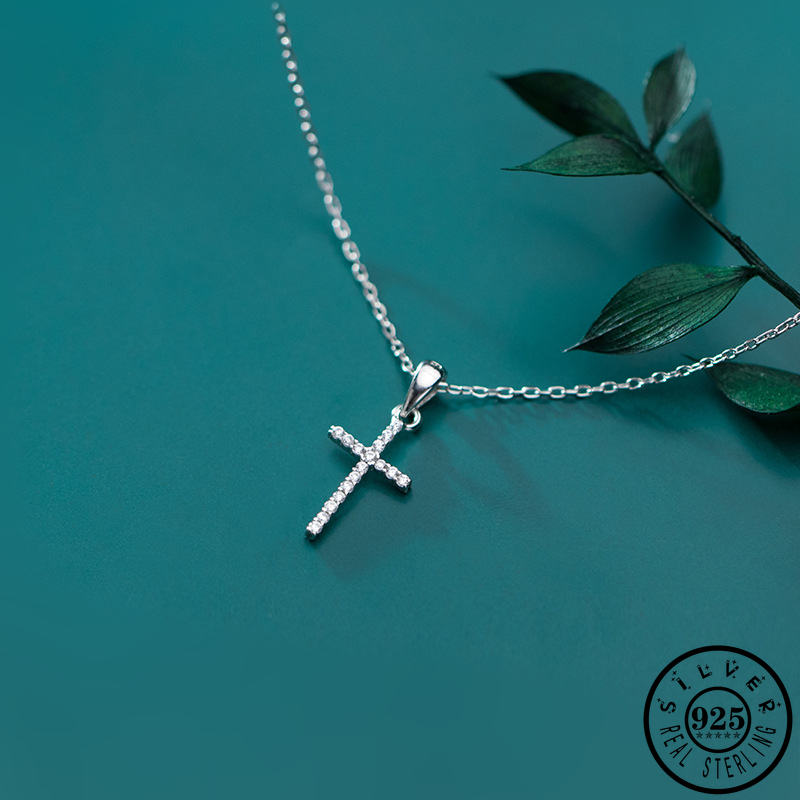 100% 925 Sterling Silver Shiny Cubic Zirconia Cross Shape Pendant Statement Link Chain CZ Necklaces For Women Fine Jewelry