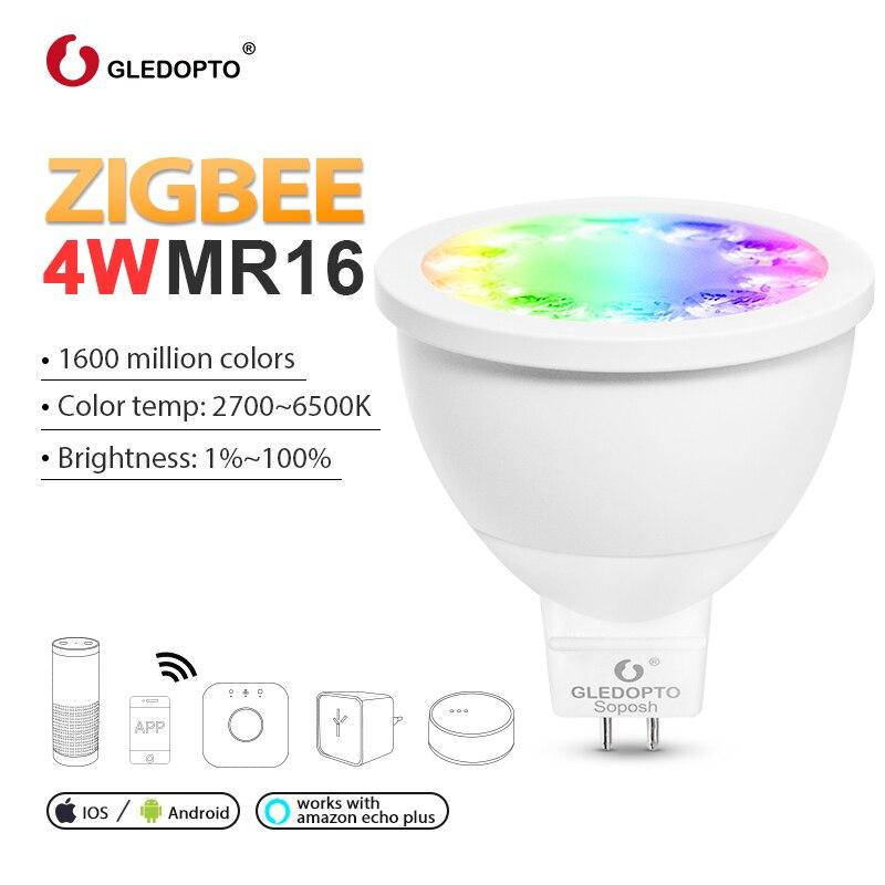 Casa inteligente controle de voz ziguezague rgbw 4 w mr16 lâmpada dc12v led rgb + cct foco cor e branco inteligente led trabalho com eco mais hub
