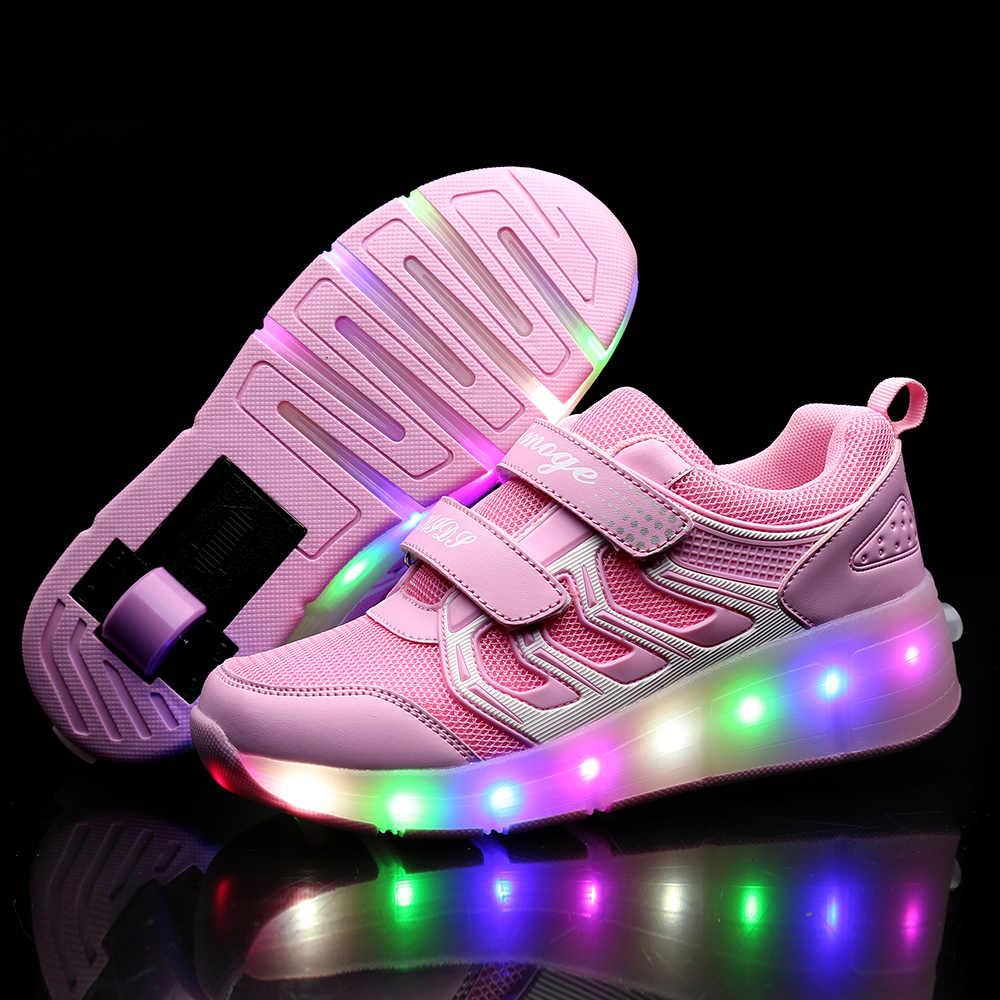 2019 Kind Jazzy Heelies, Junior Meisjes & Jongens LED Licht Heelies, Kinderen Roller Skate Schoenen, kids Sneakers Met Wielen 21 kleuren