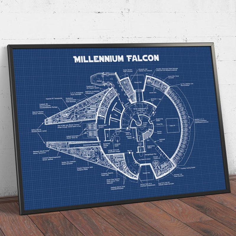 Star Wars Patent Print Spacecraft Vehicle Blueprint Movie Poster Star Wars Fan Gift Wall Art Canvas Painting Picture Home Decor image
