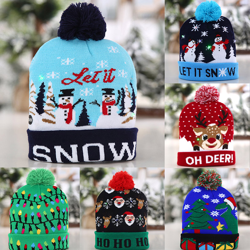 Christmas Women Knitted Hat Winter Warming Beanie Hats Cap With Ball For Girls Ladies Outdoor FDX99