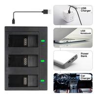 Аккумулятор SHOOT для GoPro 8, батарея с тройным/двойным USB портом для зарядки, аксессуары для экшн-камер GoPro Hero 8, 7, 6, 5, Black, Go Pro 7 4