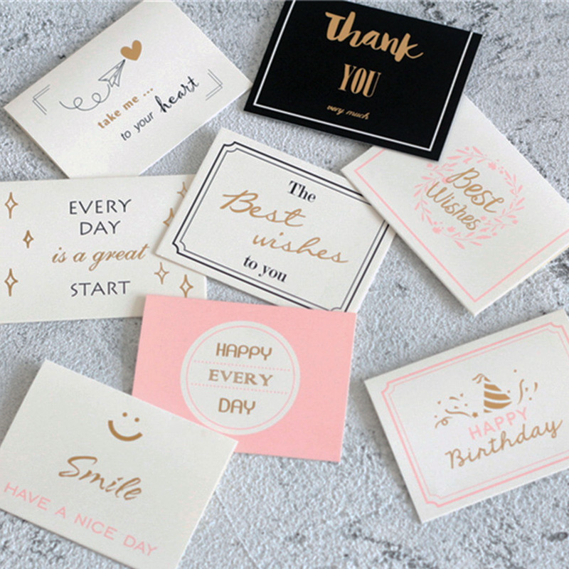 Custom Card Paper Printiing Small Card Paper Birthday Gold Thanks Teacher's Day Stamped Message Greeting