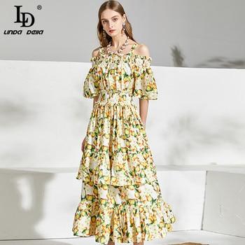 цена на LD LINDA DELLA 2020 Summer Dress Women Sexy Off the Shoulder elastic Waist Floral Print Beach Holiday A-Line Ladies Midi Dresses
