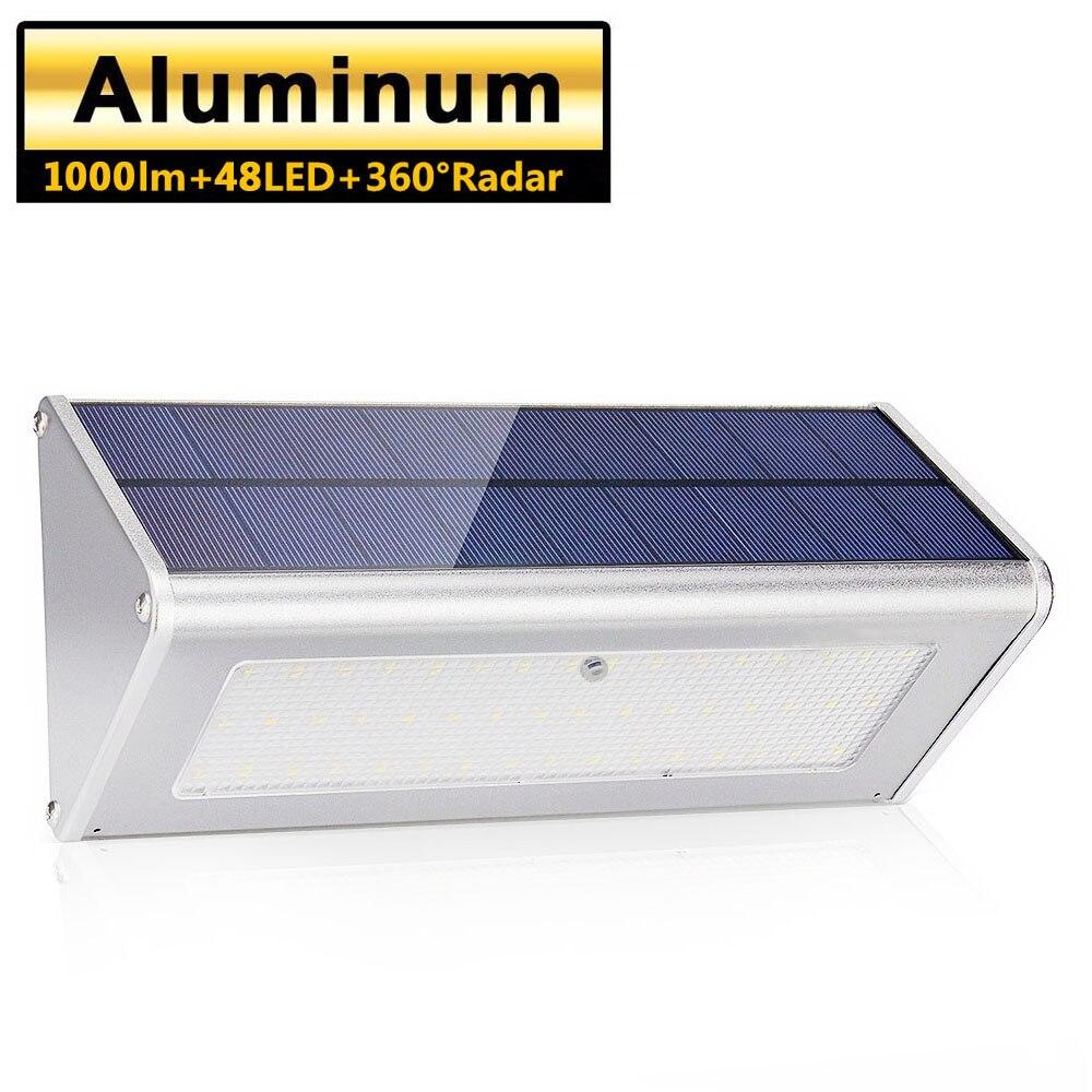 luz solar exterior impermeavel de aluminio 4500 mah 48 led super brilhante radar sensor de movimento
