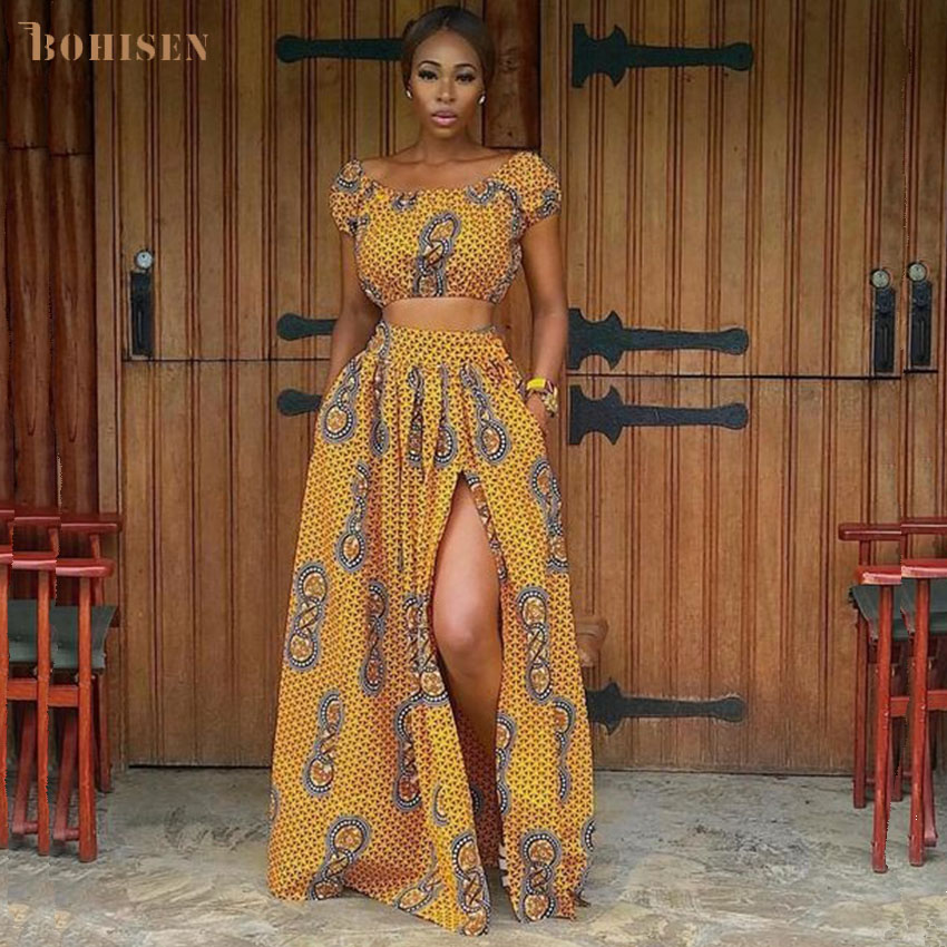 BOHISEN Dashiki African Dresses For Women Bazin Clothing Suits Short Sleeve African Women Clothes With Scraf Floral Print