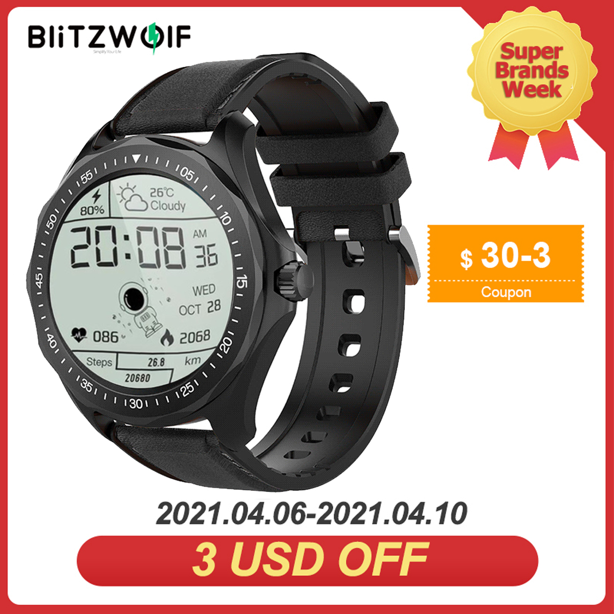 BlitzWolf Official Store BW HL3 Smart Watch Heart Rate Blood Pressure Monitor Fitness Track Sport 2020 Smartwatch For Men Women|Smart Watches| - AliExpress