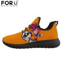 FORUDESIGNS/Повседневное Мужская обувь с рисунком из аниме принт Dragon Ball Z Обувь с дышащей сеткой вязать кроссовки для мальчиков-подростков; классные Саян Защита от солнца Гоку Вегета Туфли без каблуков