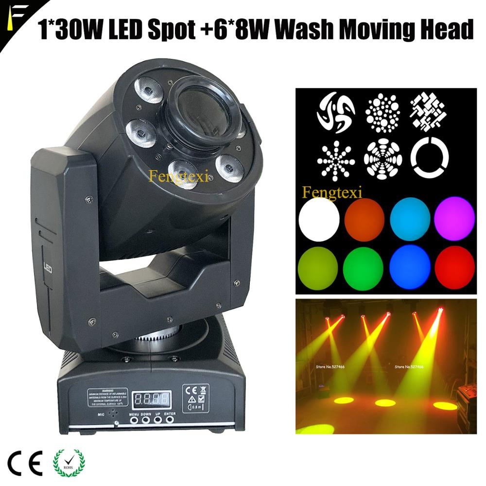 1x30W LED Spot+6x8W Wash Disco Moving Head Light Beam With 7gobos Spot Lighting 4/18channels For Disco Club Pary Wedding Show