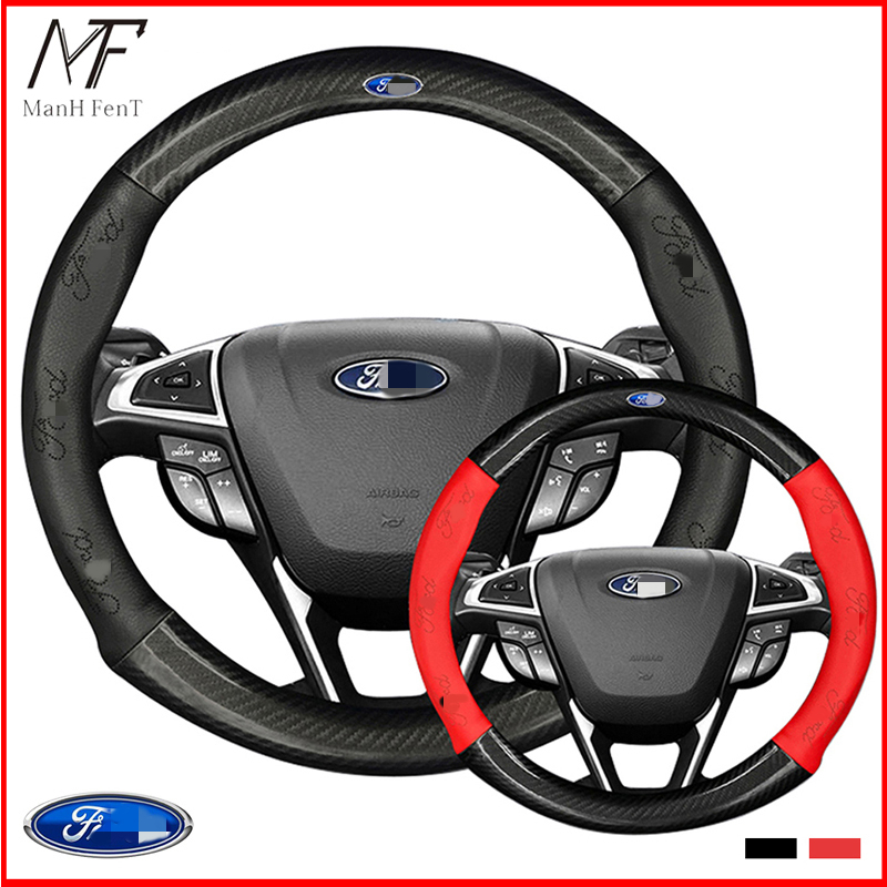 ManH FenT Carbon Fiber Cow Leather Car Steering Wheel Cover For Ford Focus 2 3 MK2 Fiesta Fusion Mondeo MK4 Kuga Ranger F150|Steering Covers| |  - title=
