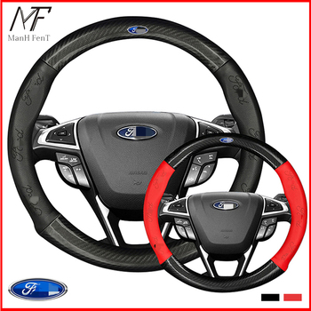 ManH FenT Carbon Fiber Cow Leather Car Steering Wheel Cover For Ford Focus 2 3 MK2 Fiesta Fusion Mondeo MK4 Kuga Ranger F150 steering wheel cover for ford mondeo mk4 2007 2012 s max 2008 ford focus 3 2015 2018 kuga 2016 2018 custom made steering braid
