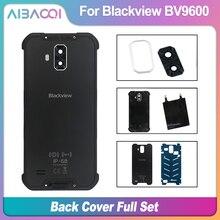Neue Original Batterie Fall Zurück Abdeckung + Lautsprecher + Drahtlose Aufladen + Zurück Glas Panel + Kamera Glas Für Blackview BV9600 Pro Telefon