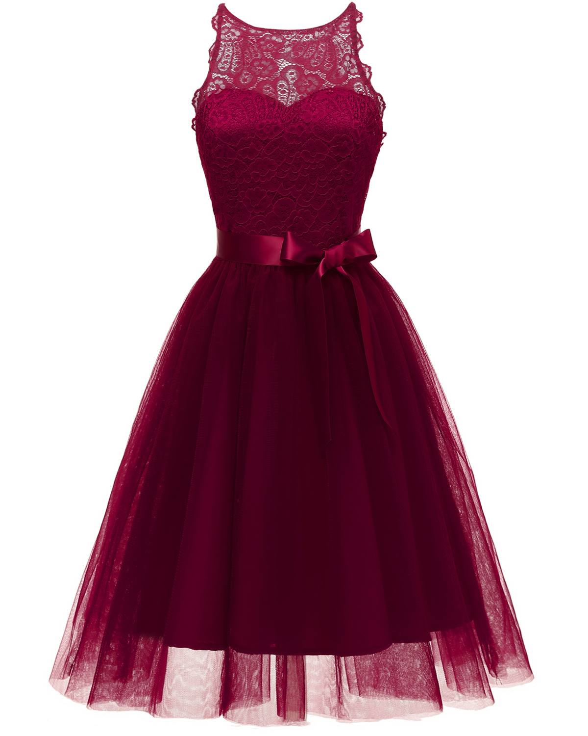 Elegant Pink Prom Dresses Burgundy Sexy Prom Dress Short O Neck Lace Zipper Back Knee-Length Graduation Party Gowns Blue Gown