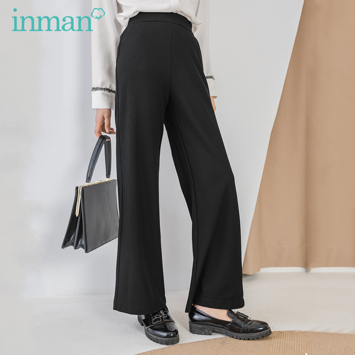 INMAN Office Style 2020 Summer New Arrial Elastic Waist Slimmed Loose Micro Bell-bottoms