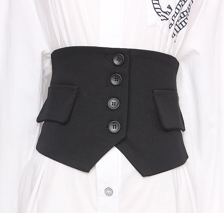 Women's Runway Fashion Elastic Fabric Black Cummerbunds Female Dress Corsets Waistband Belts Decoration Wide Belt R2837