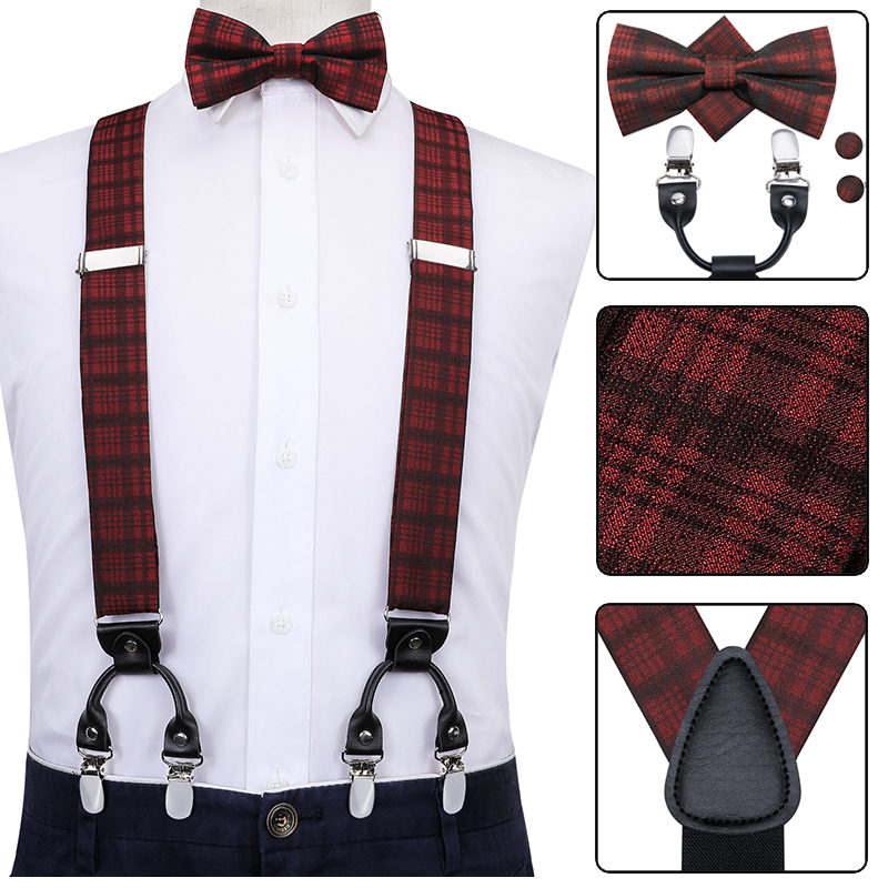 Hi-Tie 100% Silk Men's Suspenders Bow Tie Hanky Cufflinks Set Leather Metal 6 Clips Braces Vintage Black Elastic Suspenders Men