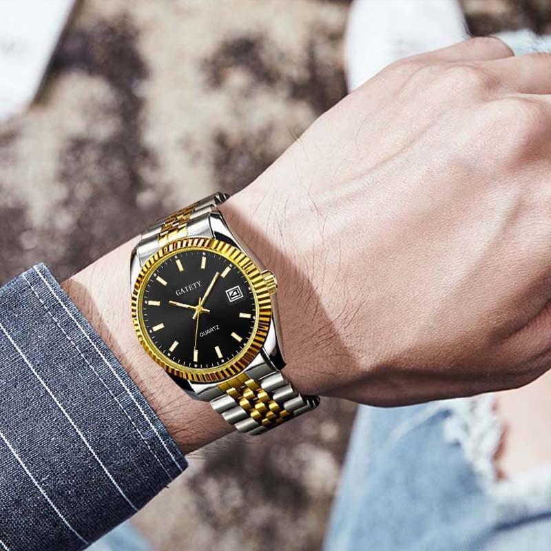 Men Watch Gaiety Brand Business Gold Diamond Fashion Calendar Luxury Waterproof Quartz Wristwatch Relogio Masculino