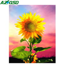 AZQSD  5D Diamond Embroidery Landscape Flowers Square Drill Sunflower Rhinestones Home Decor DIY Handmade