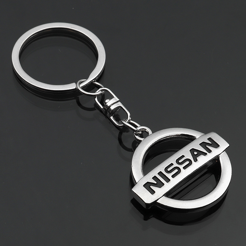 Car Logo Keychain Zinc Alloy Hollow Long Chain Double-sided Design Keychain For Nissan Car Gift Pendant To Send A Good Gift To Friends And Relatives