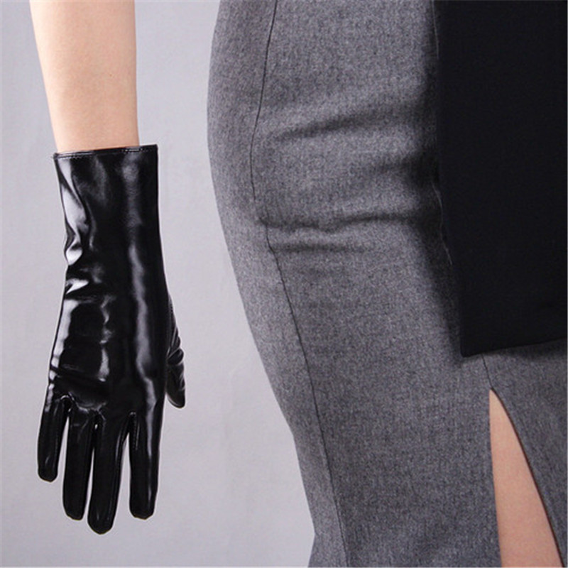 28cm Patent Leather Gloves Medium And Long Section Emulation Leather Mirror Bright Leather Bright Black Wild Basic Warm WPU94