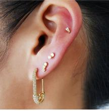 цена на LUNA CHIAO Sparkling Pave Crystal Glass Pin Shape Hoop Earrings Jewelry for Women