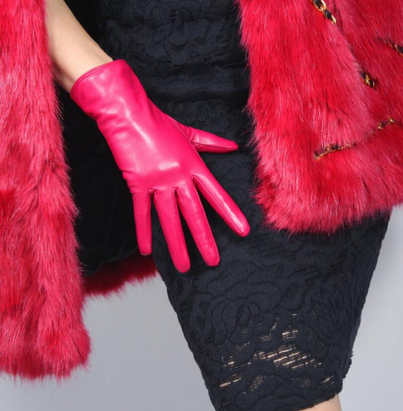Women's Autumn Winter Fleece Lining Thicken Warm Natural Goat Leather Glove Lady's Genuine Leather Short Driving Glove R2097