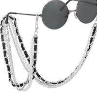 New Arrival Fashion Pearl Leather Glasses Chain Trending Luxury Golden Silver Glasses Holder Lanyard Straps Neck Chain