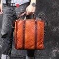 Мужской портативный портфель AETOO  винтажная кожаная сумка на плечо ручной работы