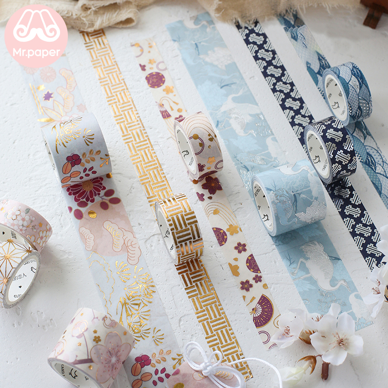 Mr Paper 3pcs/pack Japanese Cherry Blossom Crane Gold Stamping Scrapbooking DIY Washi Tape Bullet Journal Deco Masking Tape