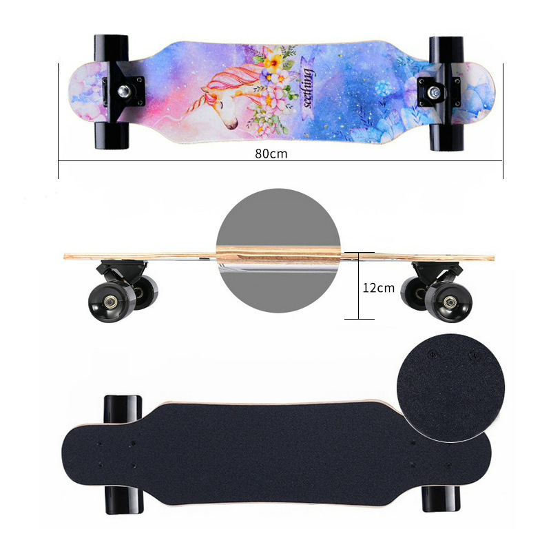 "Image 3 - 31"" Adult Kids Mini Complete Longboard Skateboard Maple Wood Deck Skate Board Mini Street Dancing Longboard-in Skate Board from Sports & Entertainment"