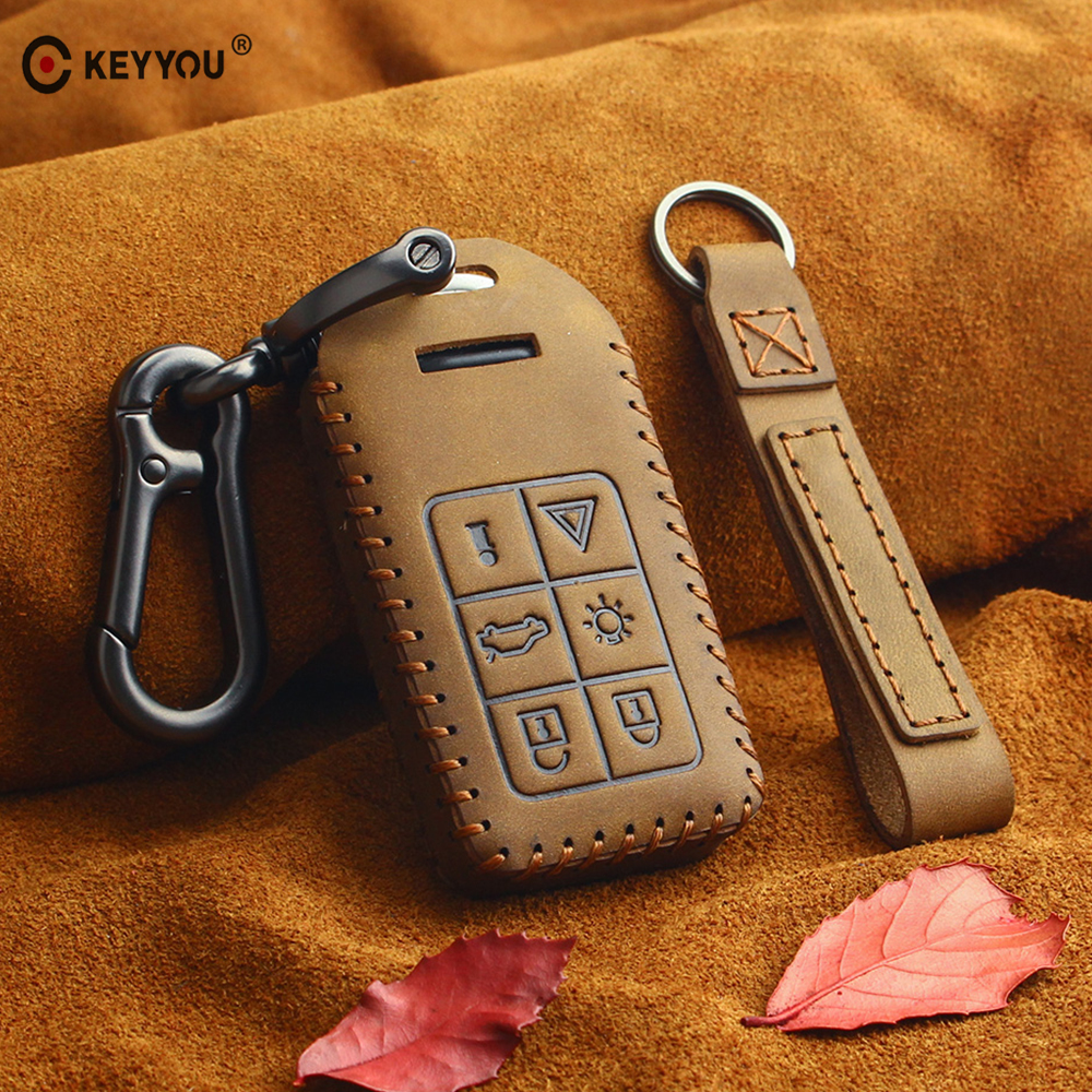 KEYYOU Genuine Leather Key Case Cover Fob 6 Button Keyless Entry Smart Remote Keychain For Volvo S60 S80 V60 XC60 XC70 S60L V40