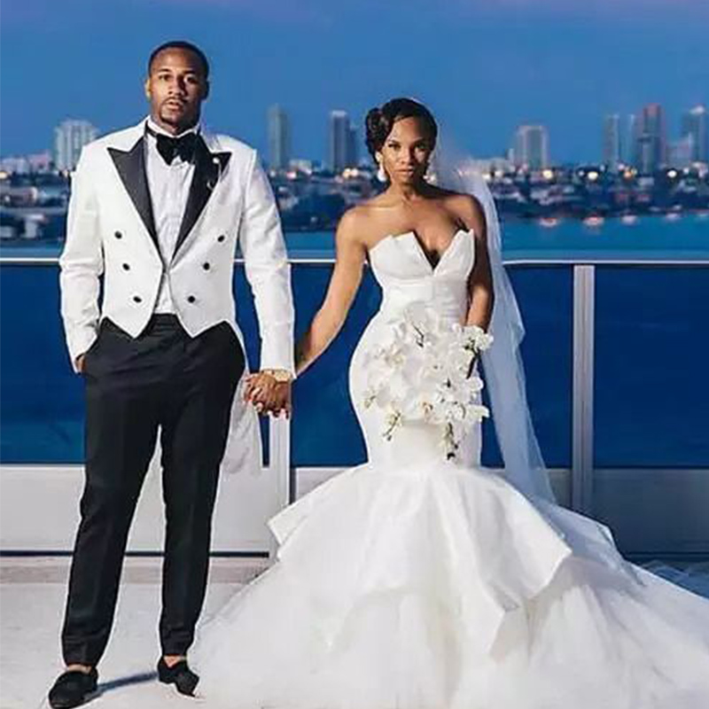 JELTONEWIN 2020 White Tailcoat Groom Men Black Pants Peaked Lapel Prom Tuxedos Groom Wedding Suits For Men Bridegroom Best Man