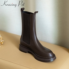 Winter Shoes Krazing-Pot Boots Platform Motorcycle-Boots Round Toe Elegant Fashion Mid-Calf