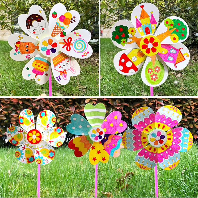 5 Pcs/set Cute Blank Windmill Toys For Children Crafts Kids DIY Painting Graffiti Learning Teaching Education Craft Toys Gifts